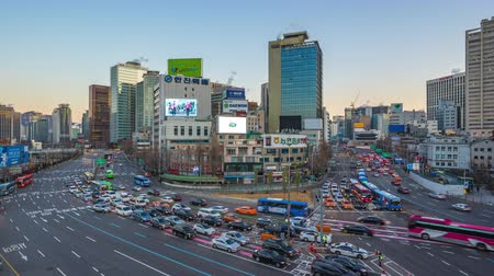 seoul : Traffic in Seoul city street in South Korea timelapse 4K
