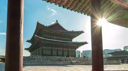 gyeongbok : Gyeongbokgung landmark in Seoul, South Korea timelapse 4K Stock Footage