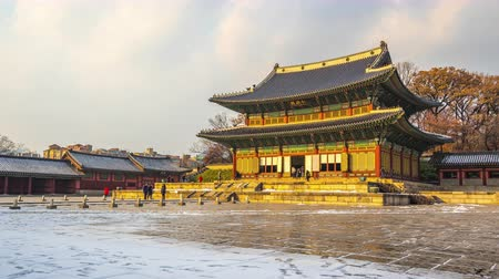 seoul : Changdeokgung Palace in Seoul city, South Korea Time Lapse Stock Footage