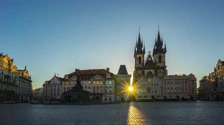 Time lapse video of Prague old town square with sunrise in Czech timelapse 4K