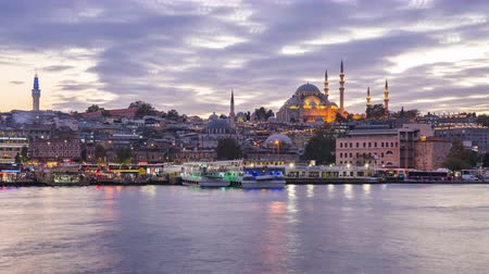 Istabul cityscape skyline in Turkey view from Galata Bridge day to night time lapse Стоковые видеозаписи