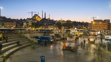 Istanbul skyline, Turkey timelapse Rustem Pasha Mosque day to night time lapse in Istanbul, Turkey