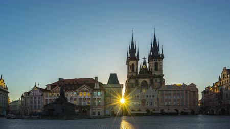 Prague time lapse, Sunrise in Prague old town square with view of Tyn Church in Czech Republic, timelapse 4K