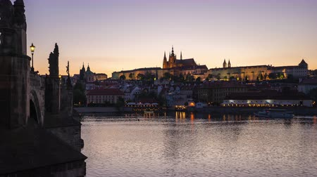 Charles bridge in Prague, Czech day to night time lapse of Prague old town in Czech Republic