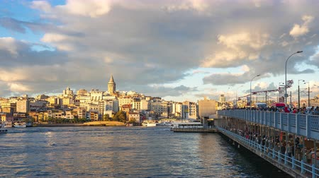 Istanbul city time lapse, Istanbul cityscape skyline with view of Galata Tower in Istanbul, Turkey timelapse 4K