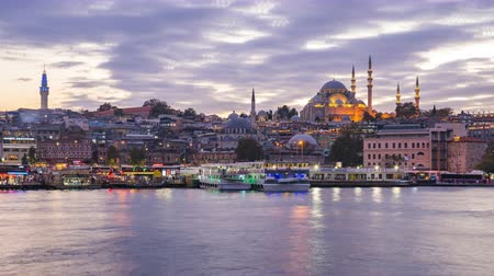 Istanbul skyline time lapse, Istanbul cityscape skyline with view of Suleymaniye Mosque in Istanbul, Turkey day to night timelapse 4K