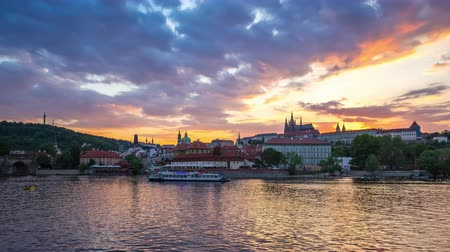 Prague city skyline day to night timelapse in Czech Republic, time lapse 4K Стоковые видеозаписи