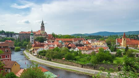 Cesky Krumlov skyline time lapse in Czech Republic Стоковые видеозаписи