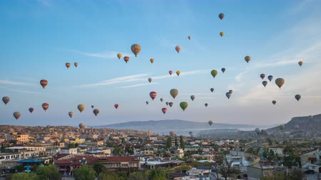 Cappadocia city skyline with balloon flying inTurkey, timelapse 4K