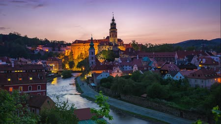 Cesky Krumlov skyline day to night time lapse in Czech Republic Стоковые видеозаписи