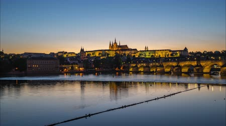 Prague city skyline day to night time lapse in Czech Republic timelapse