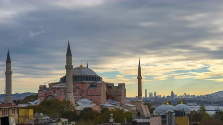 Hagia Sofia with view of Istanbul city skyline timelapse in Turkey