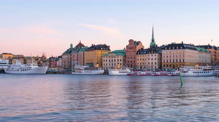Stockholm city skyline day to night time lapse in Stockholm city, Sweden