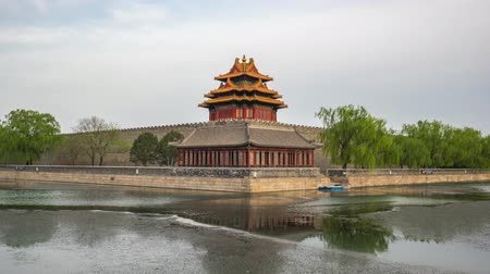 Corner Tower of Forbidden city time lapse in Beijing, China Стоковые видеозаписи