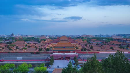 Aerial view of Forbidden city viewed from Jingshan Hill day to night time lapse in Beijing, China