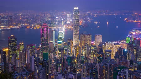 Hong Kong city skyline day to night time lapse