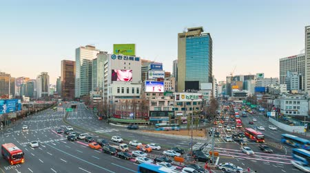 Seoul, South Korea - December 12, 2017: Time lapse of busy traffic in Seoul, South Korea