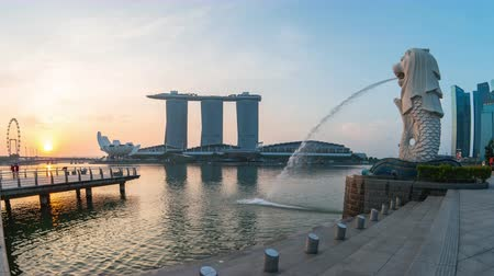 Singapore city, Singapore - April 9, 2018: Merlion park night to day time lapse in Singapore city, Singapore Стоковые видеозаписи