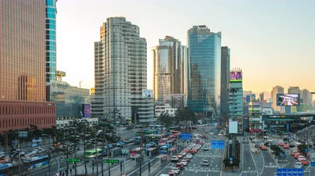 Seoul, South Korea - December 12, 2017: Seoul city traffic road with cityscape skyline in Seoul, South Korea time lapse
