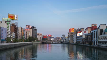 Fukuoka, Japan - April 18, 2019: Twilight view of Naka River in Hakata, Fukuoka, Japan time lapse