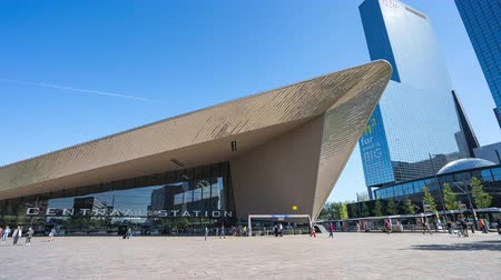 Rotterdam, Netherlands - May 15, 2019: Rotterdams new Central Station with crowd of people in Rotterdam, Netherlands.