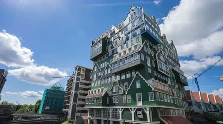 Zaandam, Netherlands - May 13, 2019: Zaandam modern buildings in North Holland, Netherlands Стоковые видеозаписи