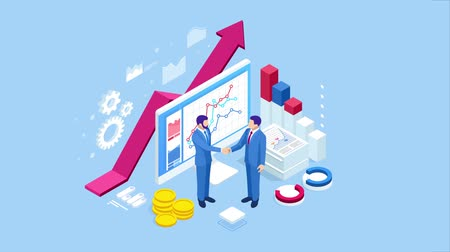 Isometric Successful business collaboration. Businessmen shaking hands. B2B. Data and key performance indicators for business intelligence analytics HD Video