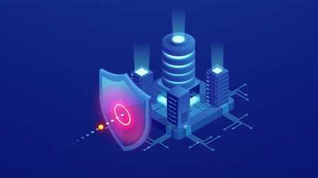 шифрование : Isometric Protection network security and safe your data concept. Web page design templates Cybersecurity. Digital crime by an anonymous hacker. HD Video. Стоковые видеозаписи