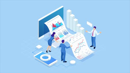 Isometric Expert team for Data Analysis, Business Statistic, Management, Consulting, Marketing. Landing page template concept. Data and investments. HD Video.