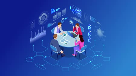 Isometric business people talking conference meeting room. Team work process. Business management teamwork meeting, brainstorming, contemporary management. HD Video.