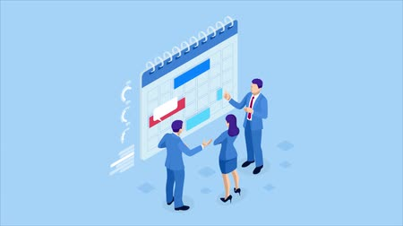 Isometric weekly schedule and calendar planner organization management. Online business workflow, time management, planning, task app, teamwork and meeting. HD Video.