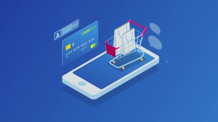 cupom : Isometric Online Shopping and payment, Sale, Consumerism, and Online Store. Mobile marketing and e-commerce. Internet payments, protection money transfer, online bank. HD Video.