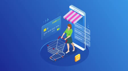 Isometric Online Shopping and payment, Sale, Consumerism, and Online Store. Mobile marketing and e-commerce. Internet payments, protection money transfer, online bank. HD Video.
