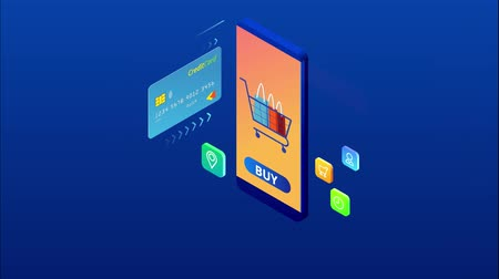 hitel : Isometric Online Shopping and payment, Sale, Consumerism, and Online Store. Mobile marketing and e-commerce. Internet payments, protection money transfer, online bank. HD Video.