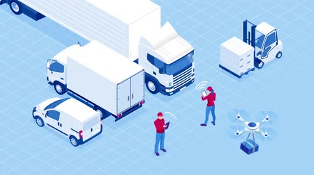 Isometric Checking delivery and ligistics service app on computer. Delivery truck with cardboard box and delivery man. Infographics. HD Video.