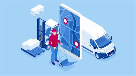 Logistics and Delivery concept. Delivery home and office. City logistics. Delivery service app with map background. Isometric style. HD Video.