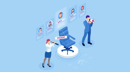 Isometric hiring and recruitment concept for web page, banner, presentation. Job interview, recruitment agency HD Video. Dostupné videozáznamy