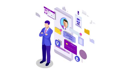 reconhecimento : Isometric Personal Data Information App, Identity Private Concept. Digital data Secure Banner. Biometrics technology for personal identity recognition and access authentication. HD Video.
