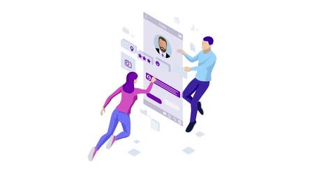 face id : Isometric Personal Data Information App, Identity Private Concept. Digital data Secure Banner. Biometrics technology for personal identity recognition and access authentication. HD Video.