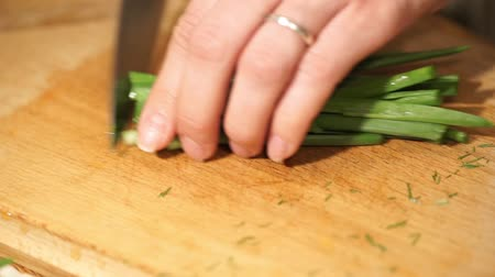 warzywa : Cooking and home concept. Cutting green onions.