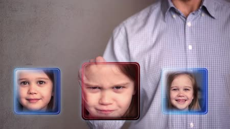 evcil : Man touch scared little girl icon Stok Video