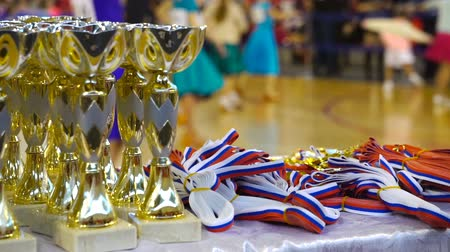 Cups and awards in ballroom dances