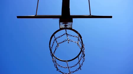 schoolyard : Basketball basket with chains on streetball court