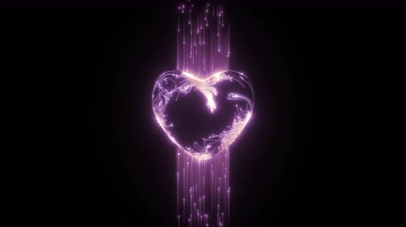 gizemli : Glowing particles form the shape of the heart Stok Video