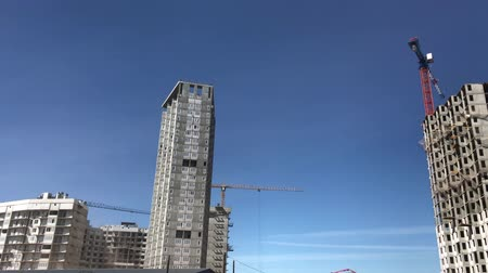 The process of building high-rise residential buildings. Stock mozgókép