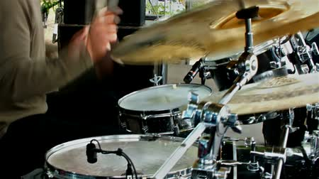 davulcu : Rock drummer ;  rock drummer playing the drums at the festival stage,video clip