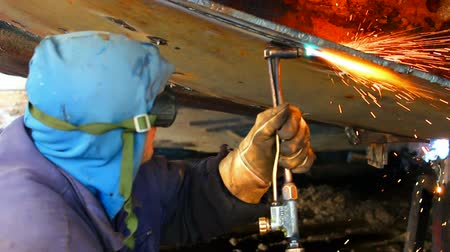 Gas welding machines ; Welder shall repair the ship with gas welding,video clip