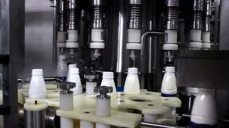 Bottling Machine ; Production line for bottling milk,video clip
