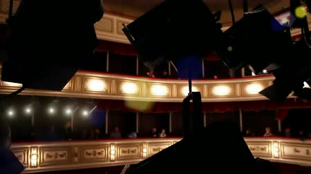 stage theater : In the theater ; View from the lodge through the spotlights in the theater,video clip