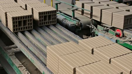 terracota : Building blocks in the production line ; Production of building blocks in the brick factory,video clip